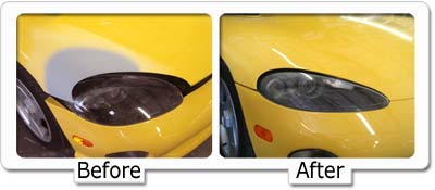 Bumper repair at Dents Unlimted and Cox Collision